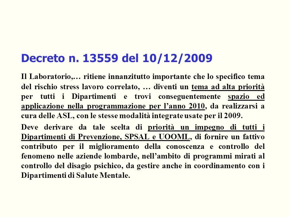 Decreto n. 13559 del 10/12/2009 Il Laboratorio,… ritiene innanzitutto importante che lo specifico tema del rischio stress lavoro correlato, … diventi