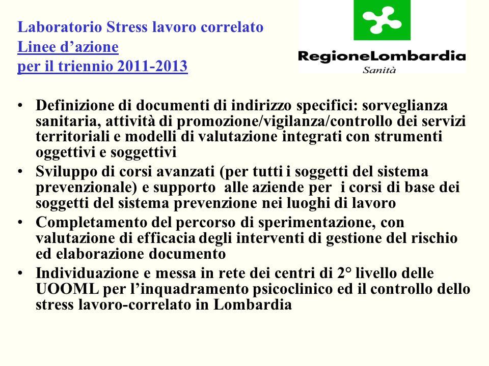 Laboratorio Stress lavoro correlato Linee dazione per il triennio 2011-2013 Definizione di documenti di indirizzo specifici: sorveglianza sanitaria, a