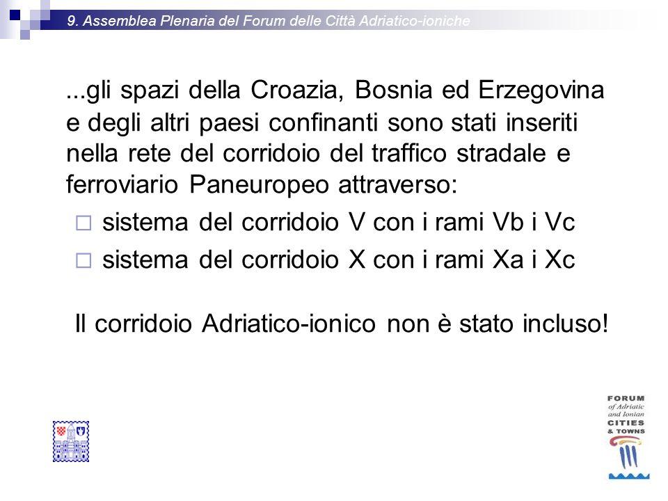 ...gli spazi della Croazia, Bosnia ed Erzegovina e degli altri paesi confinanti sono stati inseriti nella rete del corridoio del traffico stradale e ferroviario Paneuropeo attraverso: sistema del corridoio V con i rami Vb i Vc sistema del corridoio X con i rami Xa i Xc Il corridoio Adriatico-ionico non è stato incluso.