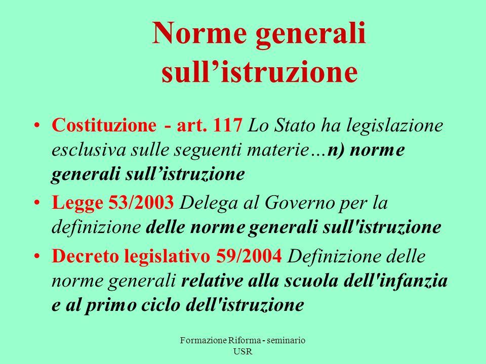 Formazione Riforma - seminario USR Norme generali sullistruzione Costituzione - art.