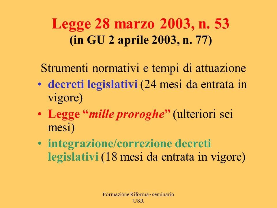 Formazione Riforma - seminario USR Legge 28 marzo 2003, n.