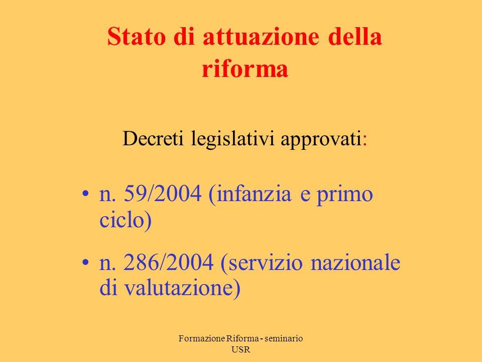 Formazione Riforma - seminario USR Decreto legislativo 59/2004 Principi fondamentali/2 Autonomia delle istituzioni scolastiche DPR 275/1999 POF coerente con obiettivi generali/educativi definiti a livello nazionale (artt.