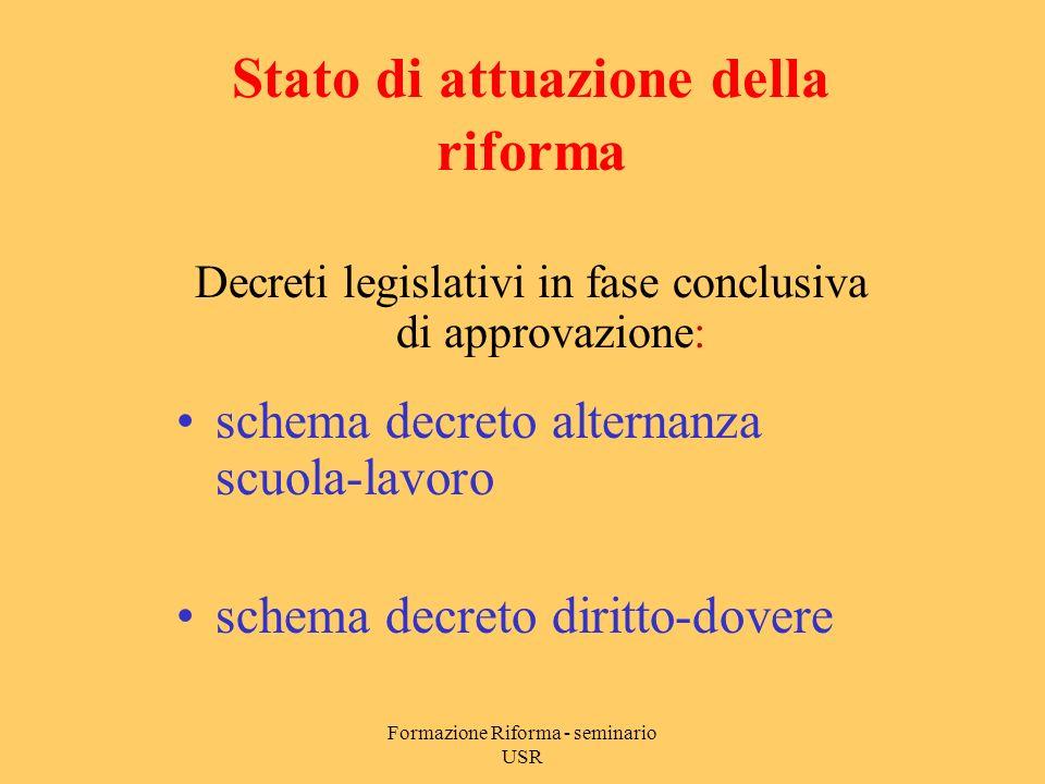 Formazione Riforma - seminario USR Decreto legislativo 59/2004 Problemi aperti Orario delle attività educative Blocco organici (art.
