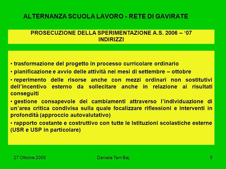 27 Ottobre 2006Daniela Tam Baj5 ALTERNANZA SCUOLA LAVORO - RETE DI GAVIRATE trasformazione del progetto in processo curricolare ordinario pianificazio