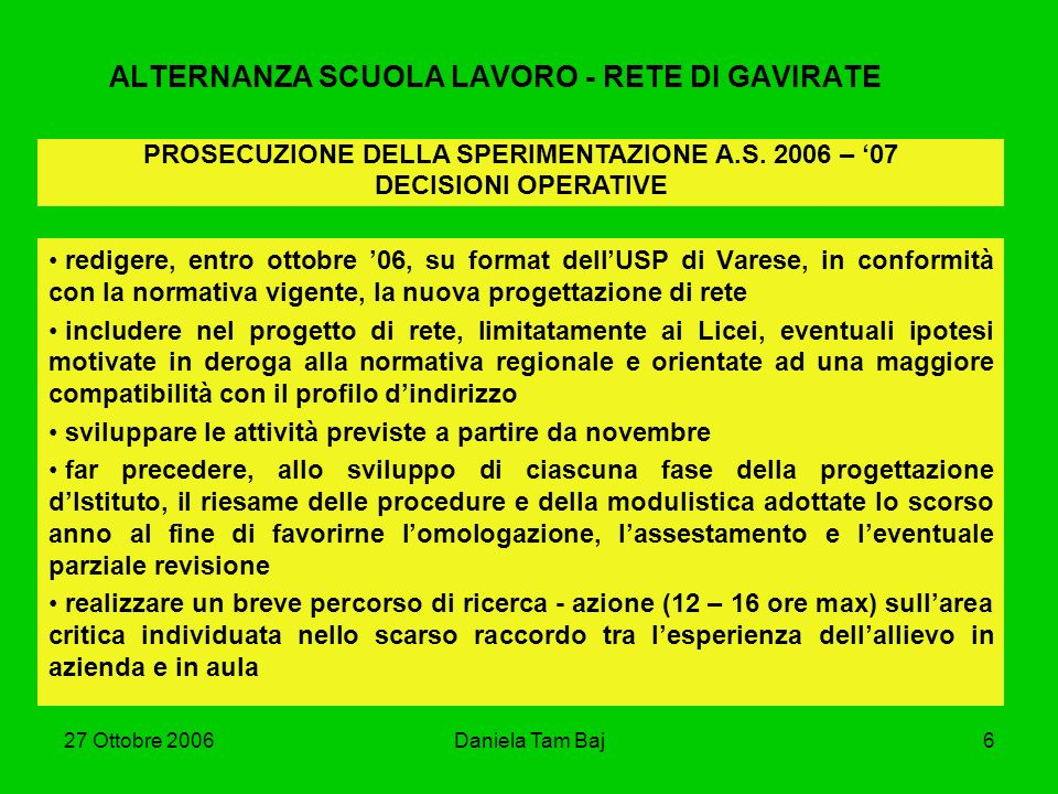 27 Ottobre 2006Daniela Tam Baj6 ALTERNANZA SCUOLA LAVORO - RETE DI GAVIRATE redigere, entro ottobre 06, su format dellUSP di Varese, in conformità con
