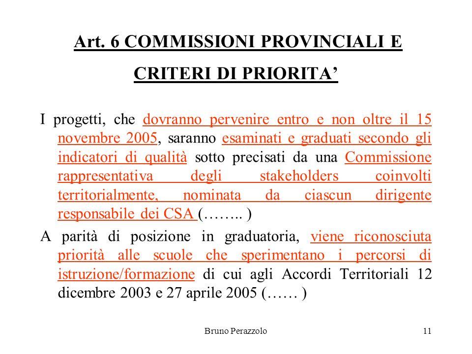 Bruno Perazzolo11 Art. 6 COMMISSIONI PROVINCIALI E CRITERI DI PRIORITA I progetti, che dovranno pervenire entro e non oltre il 15 novembre 2005, saran