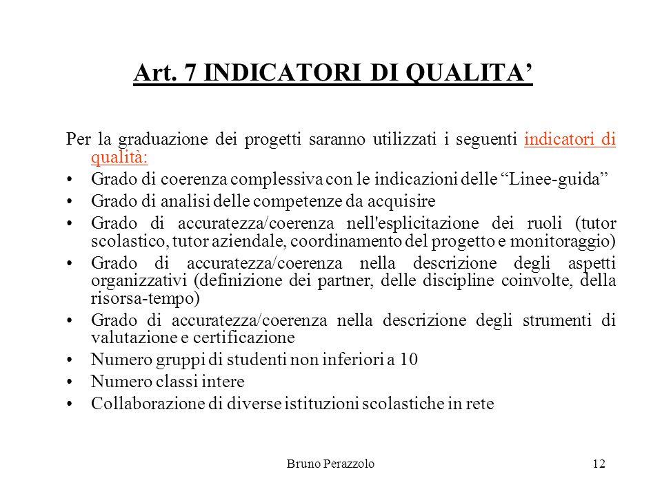 Bruno Perazzolo12 Art. 7 INDICATORI DI QUALITA Per la graduazione dei progetti saranno utilizzati i seguenti indicatori di qualità: Grado di coerenza
