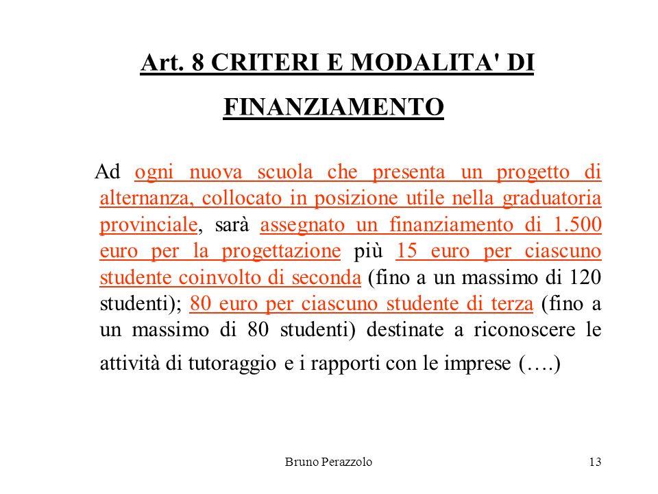 Bruno Perazzolo13 Art. 8 CRITERI E MODALITA' DI FINANZIAMENTO Ad ogni nuova scuola che presenta un progetto di alternanza, collocato in posizione util
