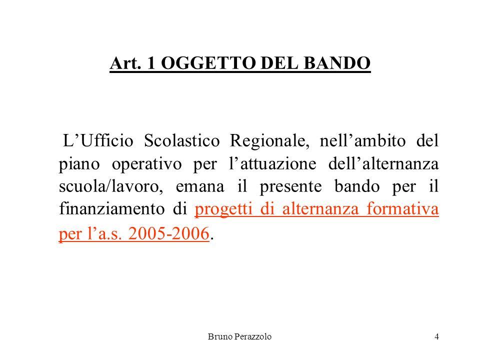 Bruno Perazzolo4 Art. 1 OGGETTO DEL BANDO LUfficio Scolastico Regionale, nellambito del piano operativo per lattuazione dellalternanza scuola/lavoro,