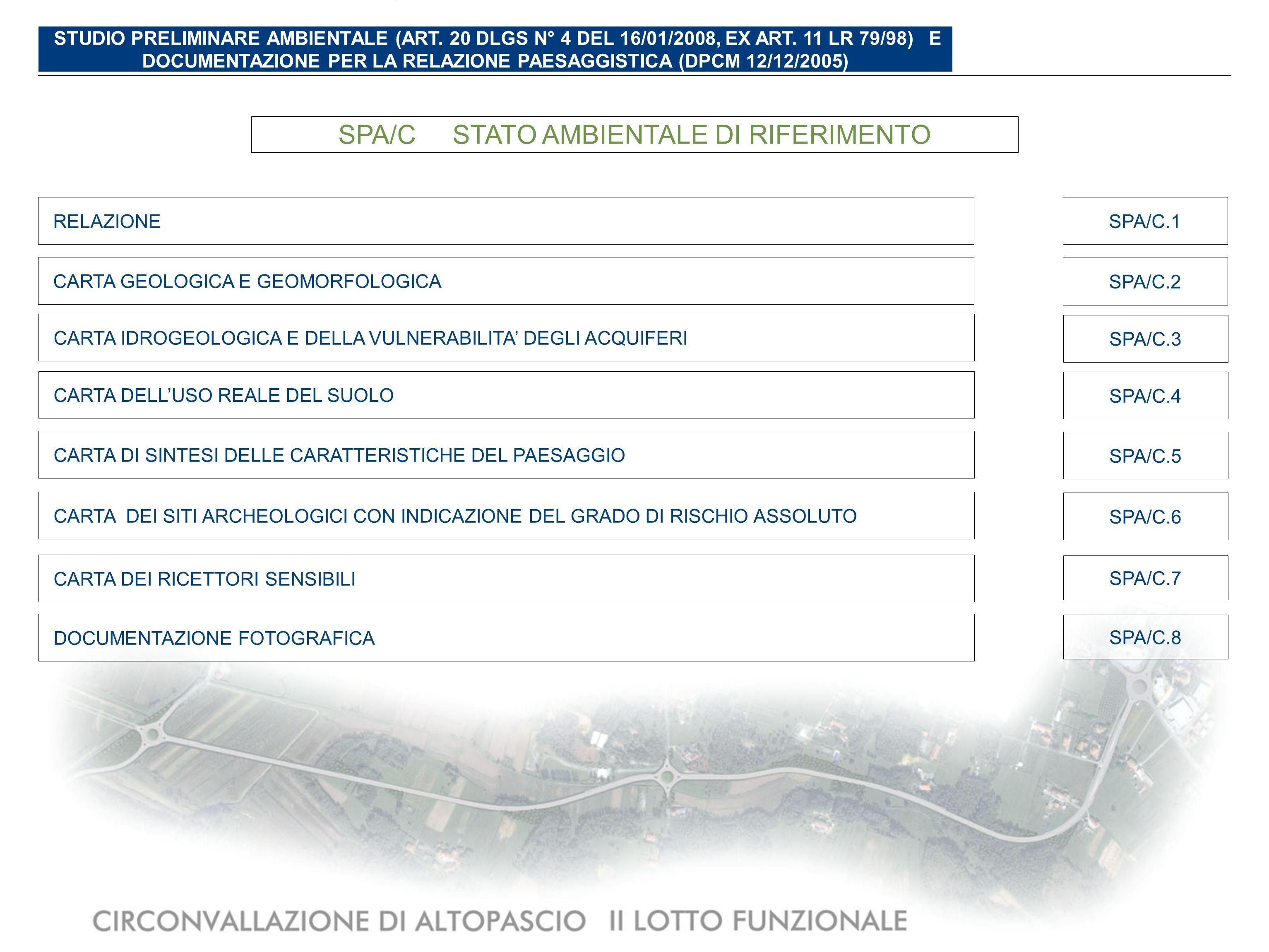 SPA/DIMPATTI DEL PROGETTO E INTERVENTI DI MITIGAZIONE AMBIENTALE ABACO DELLE SPECIE ARBOREE ED ARBUSTIVE DI PROGETTO E SCHEMI ASSOCIATIVI DI IMPIANTO SPA/D.2 PLANIMETRIA DI PROGETTO CON INDICAZIONE DEGLI INTERVENTI DI MITIGAZIONE AMBIENTALE (1:2.000) SPA/D.3 SEZIONI AMBIENTALI CARATTERISTICHE CON INDICAZIONE DEGLI INTERVENTI DI MITIGAZIONE AMBIENTALE (1:200) SPA/D.4 FOTOPIANO CON INSERIMENTO DELLINFRASTRUTTURA DI PROGETTO E DELLE OPERE DI MITIGAZIONE AMBIENTALE (1:5.000) SPA/D.5 SIMULAZIONI FOTOGRAFICHE DI PROGETTO CON INDICAZIONE DELLE OPERE DI MITIGAZIONE AMBIENTALE SPA/D.6 RELAZIONE SPA/D.1 MAPPATURA DELLE ISOFONICHE – PERIODO NOTTURNO CON MITIGAZIONI SPA/D.7 STUDIO PRELIMINARE AMBIENTALE (ART.