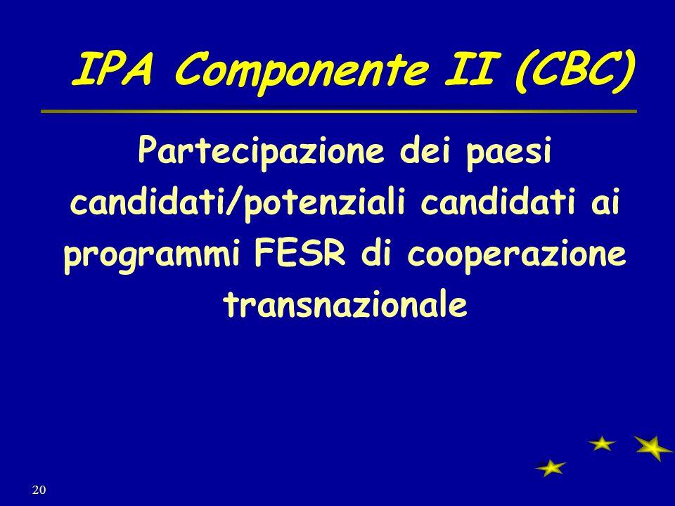 20 IPA Componente II (CBC) Partecipazione dei paesi candidati/potenziali candidati ai programmi FESR di cooperazione transnazionale