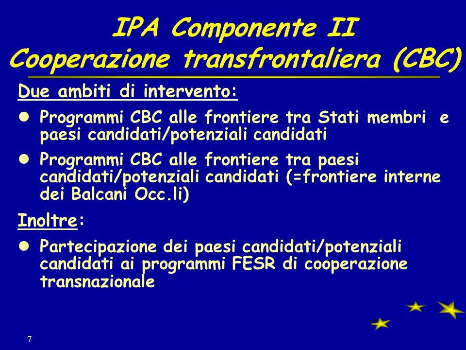7 IPA Componente II Cooperazione transfrontaliera (CBC) Due ambiti di intervento: Programmi CBC alle frontiere tra Stati membri e paesi candidati/potenziali candidati Programmi CBC alle frontiere tra paesi candidati/potenziali candidati (=frontiere interne dei Balcani Occ.li) Inoltre: Partecipazione dei paesi candidati/potenziali candidati ai programmi FESR di cooperazione transnazionale