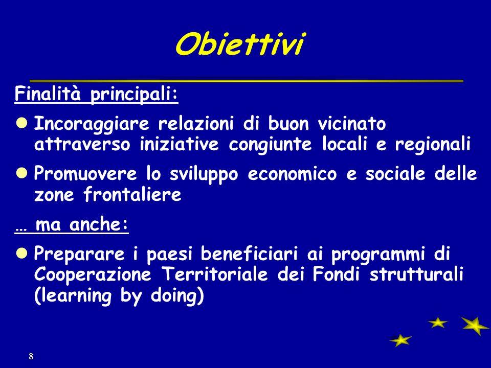 8 Obiettivi Finalità principali: Incoraggiare relazioni di buon vicinato attraverso iniziative congiunte locali e regionali Promuovere lo sviluppo economico e sociale delle zone frontaliere … ma anche: Preparare i paesi beneficiari ai programmi di Cooperazione Territoriale dei Fondi strutturali (learning by doing)