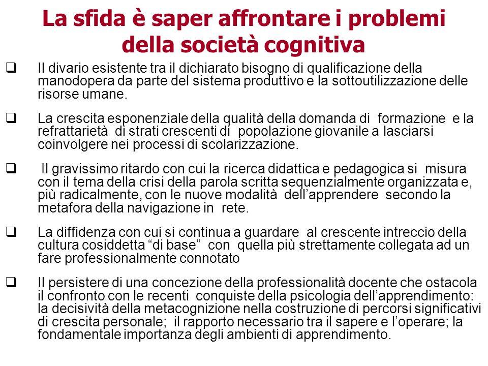 Aldo Tropea 2009 La sfida è saper affrontare i problemi della società cognitiva Il divario esistente tra il dichiarato bisogno di qualificazione della manodopera da parte del sistema produttivo e la sottoutilizzazione delle risorse umane.