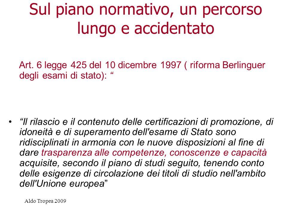 Aldo Tropea 2009 Sul piano normativo, un percorso lungo e accidentato Art.