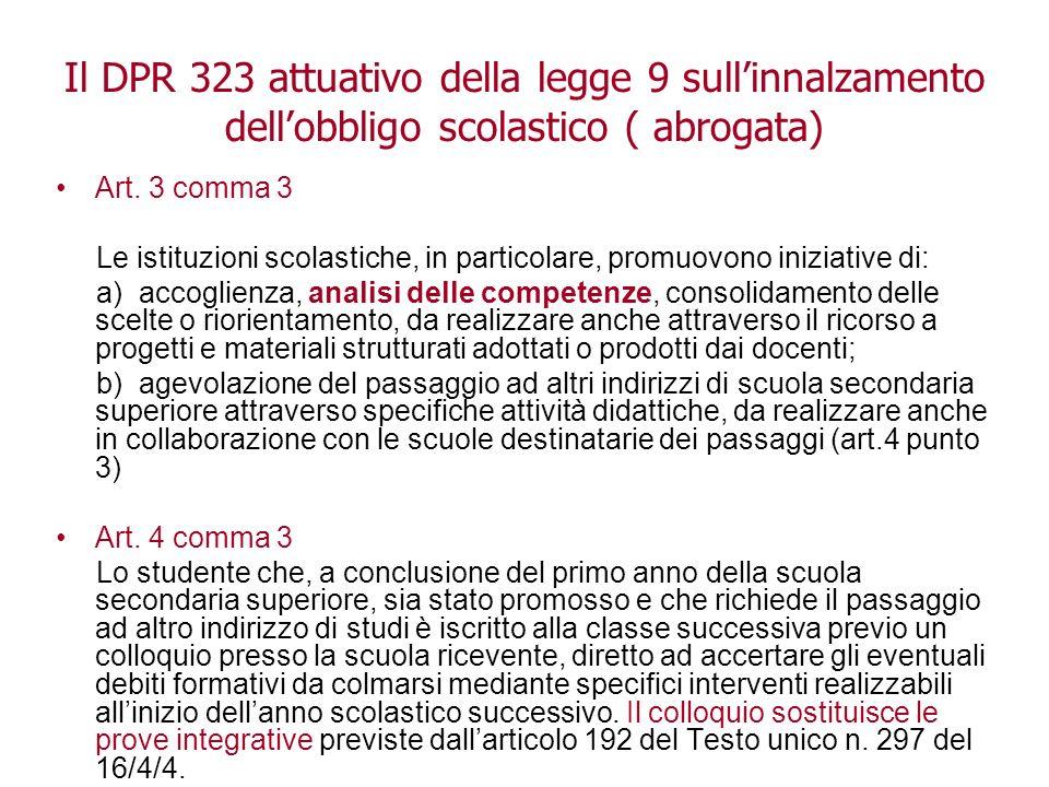 Aldo Tropea 2009 Il DPR 323 attuativo della legge 9 sullinnalzamento dellobbligo scolastico ( abrogata) Art.