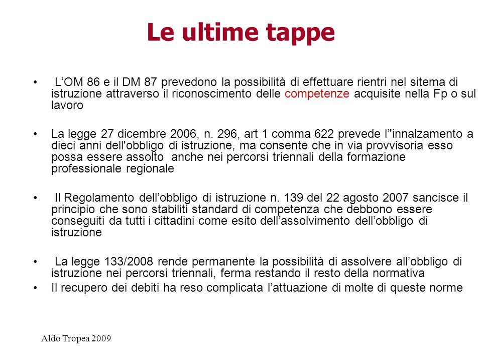 Aldo Tropea 2009 Le ultime tappe LOM 86 e il DM 87 prevedono la possibilità di effettuare rientri nel sitema di istruzione attraverso il riconoscimento delle competenze acquisite nella Fp o sul lavoro La legge 27 dicembre 2006, n.