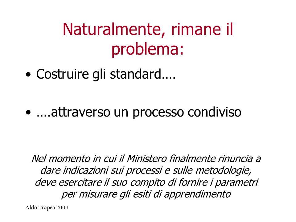 Aldo Tropea 2009 Naturalmente, rimane il problema: Costruire gli standard….
