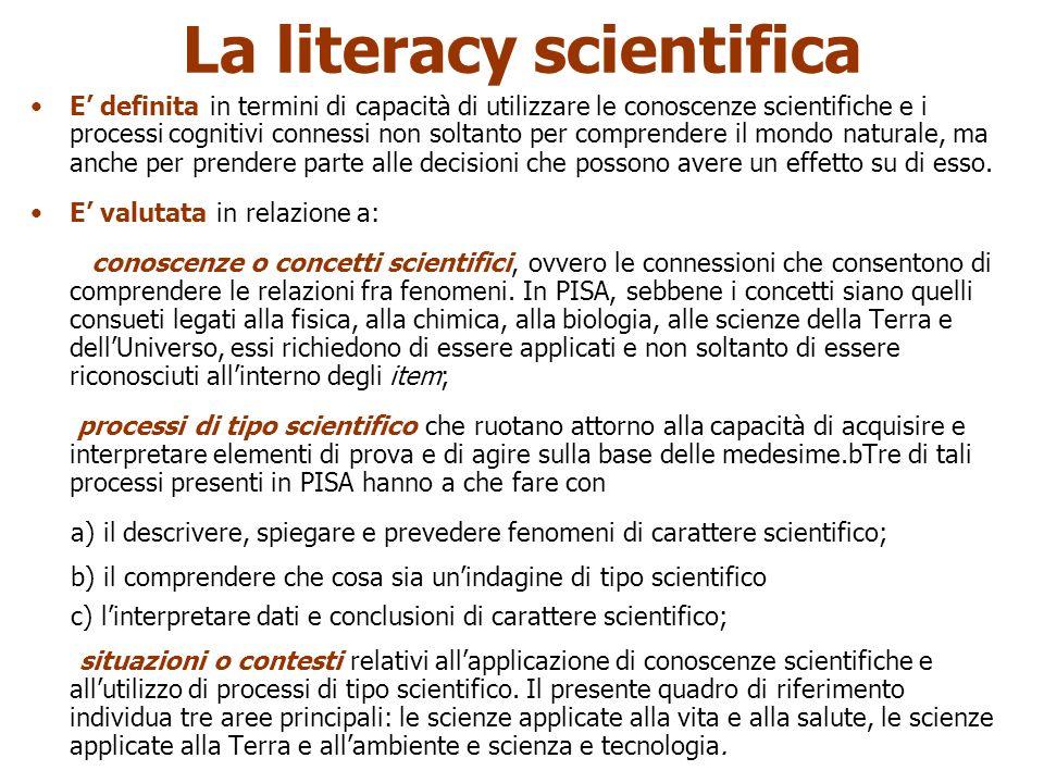 Aldo Tropea 2009 La literacy scientifica E definita in termini di capacità di utilizzare le conoscenze scientifiche e i processi cognitivi connessi non soltanto per comprendere il mondo naturale, ma anche per prendere parte alle decisioni che possono avere un effetto su di esso.