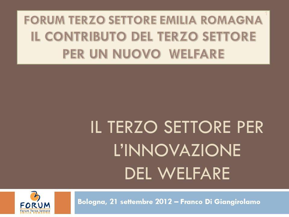 IL TERZO SETTORE PER LINNOVAZIONE DEL WELFARE Bologna, 21 settembre 2012 – Franco Di Giangirolamo 1
