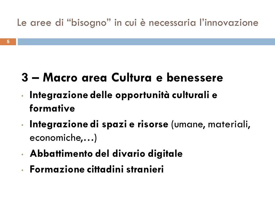 5 3 – Macro area Cultura e benessere Integrazione delle opportunità culturali e formative Integrazione di spazi e risorse (umane, materiali, economiche,…) Abbattimento del divario digitale Formazione cittadini stranieri
