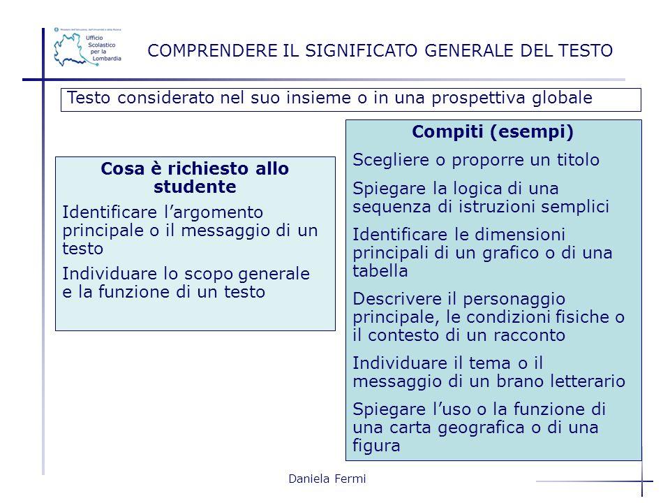 Daniela Fermi COMPRENDERE IL SIGNIFICATO GENERALE DEL TESTO Testo considerato nel suo insieme o in una prospettiva globale Compiti (esempi) Scegliere