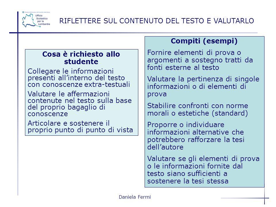 Daniela Fermi RIFLETTERE SUL CONTENUTO DEL TESTO E VALUTARLO Compiti (esempi) Fornire elementi di prova o argomenti a sostegno tratti da fonti esterne