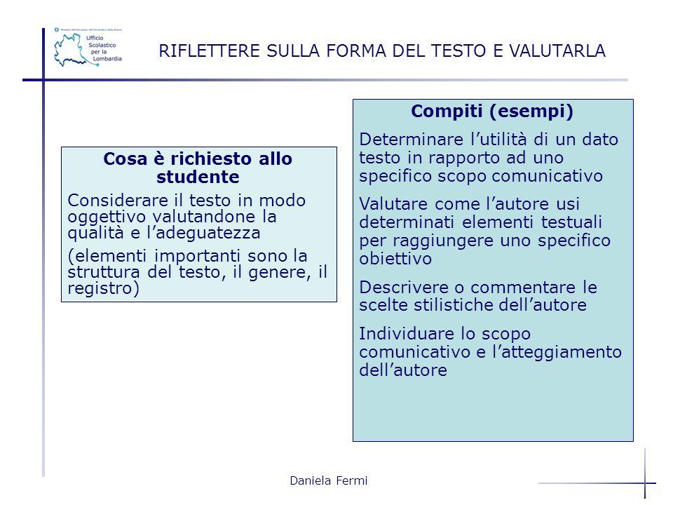 Daniela Fermi RIFLETTERE SULLA FORMA DEL TESTO E VALUTARLA Compiti (esempi) Determinare lutilità di un dato testo in rapporto ad uno specifico scopo c