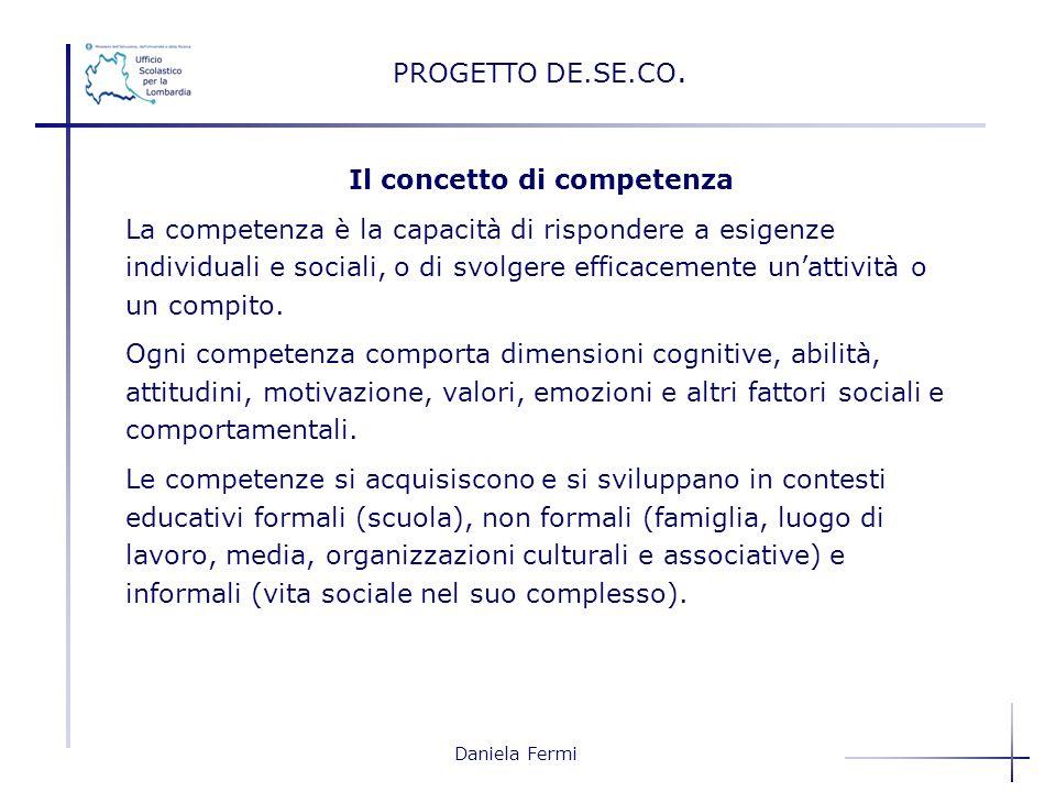 Daniela Fermi Il concetto di competenza La competenza è la capacità di rispondere a esigenze individuali e sociali, o di svolgere efficacemente unatti