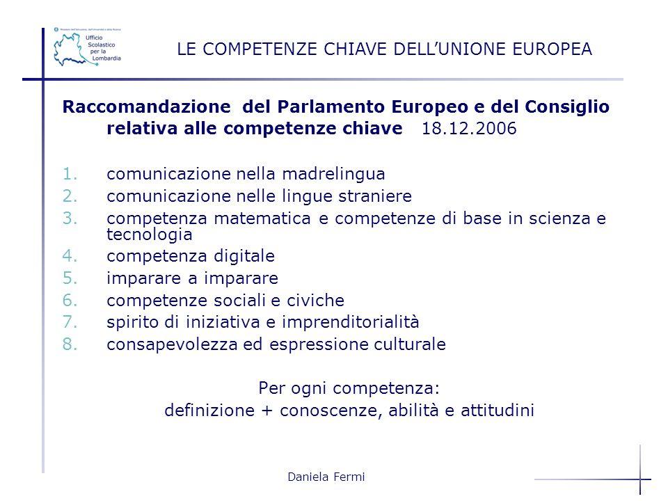 Daniela Fermi Raccomandazione del Parlamento Europeo e del Consiglio relativa alle competenze chiave 18.12.2006 1.comunicazione nella madrelingua 2.co