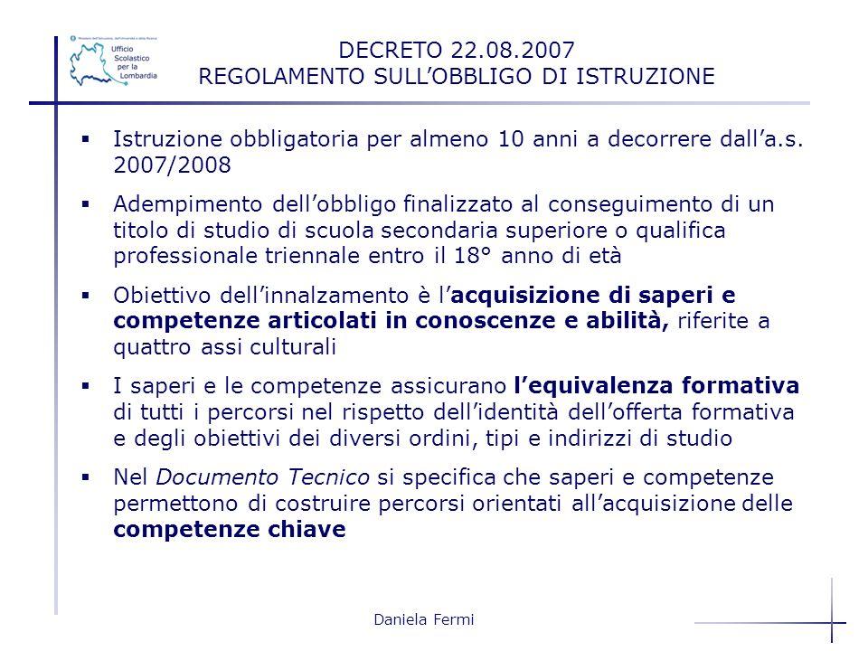 Daniela Fermi Istruzione obbligatoria per almeno 10 anni a decorrere dalla.s. 2007/2008 Adempimento dellobbligo finalizzato al conseguimento di un tit
