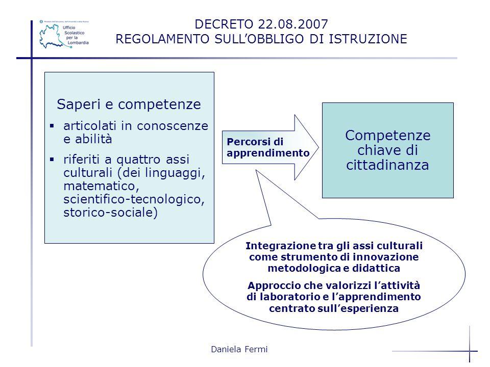 Daniela Fermi Saperi e competenze articolati in conoscenze e abilità riferiti a quattro assi culturali (dei linguaggi, matematico, scientifico-tecnolo
