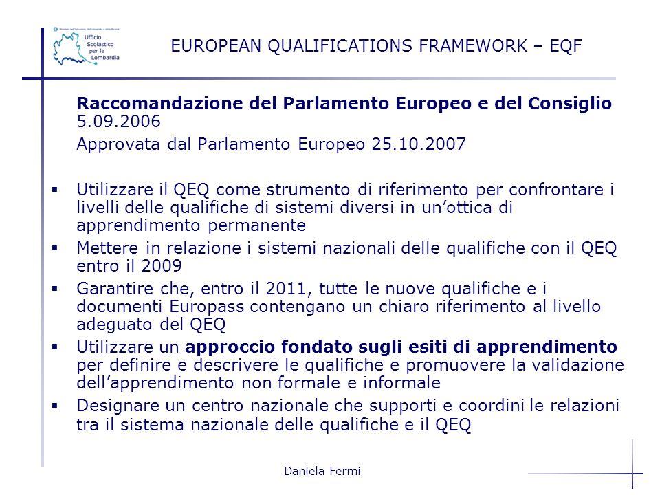 Daniela Fermi EUROPEAN QUALIFICATIONS FRAMEWORK – EQF Raccomandazione del Parlamento Europeo e del Consiglio 5.09.2006 Approvata dal Parlamento Europe