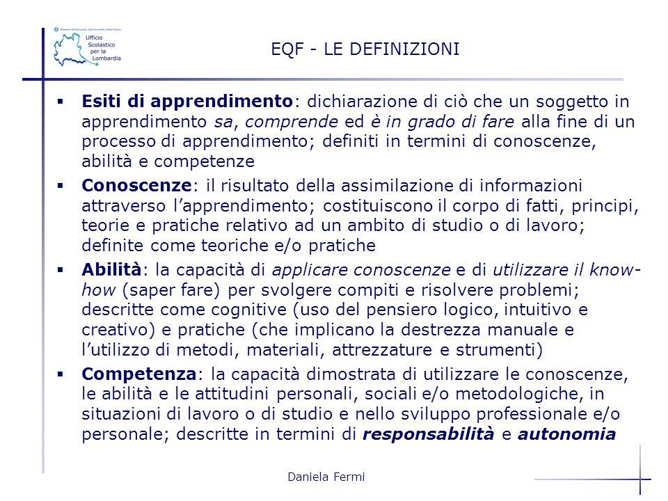 Daniela Fermi EQF - LE DEFINIZIONI Esiti di apprendimento: dichiarazione di ciò che un soggetto in apprendimento sa, comprende ed è in grado di fare a