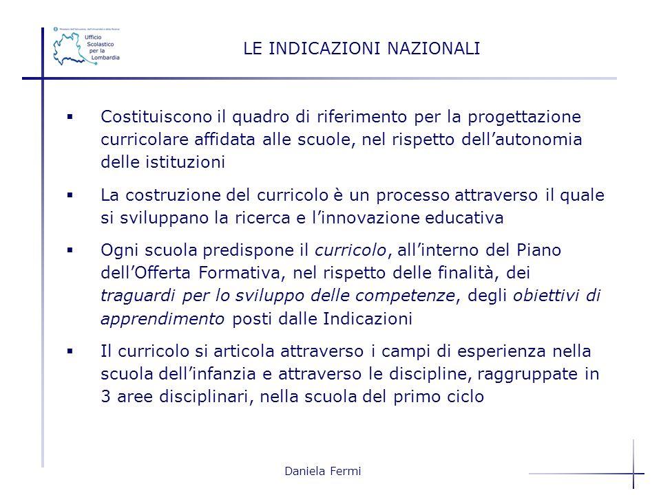 Daniela Fermi LE INDICAZIONI NAZIONALI Costituiscono il quadro di riferimento per la progettazione curricolare affidata alle scuole, nel rispetto dell