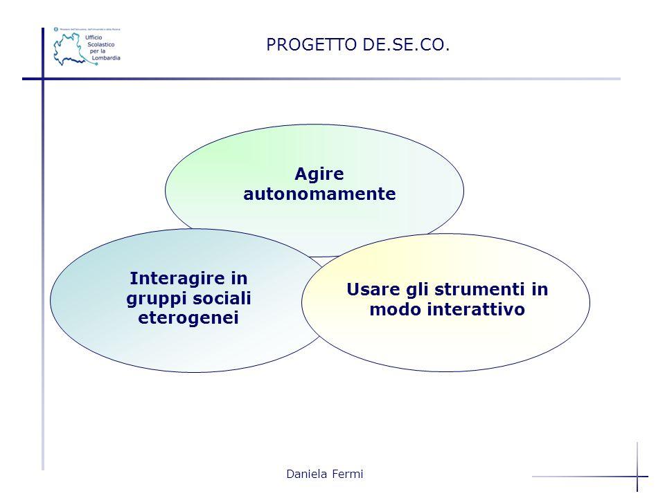 Daniela Fermi PROGETTO DE.SE.CO. Agire autonomamente Interagire in gruppi sociali eterogenei Usare gli strumenti in modo interattivo