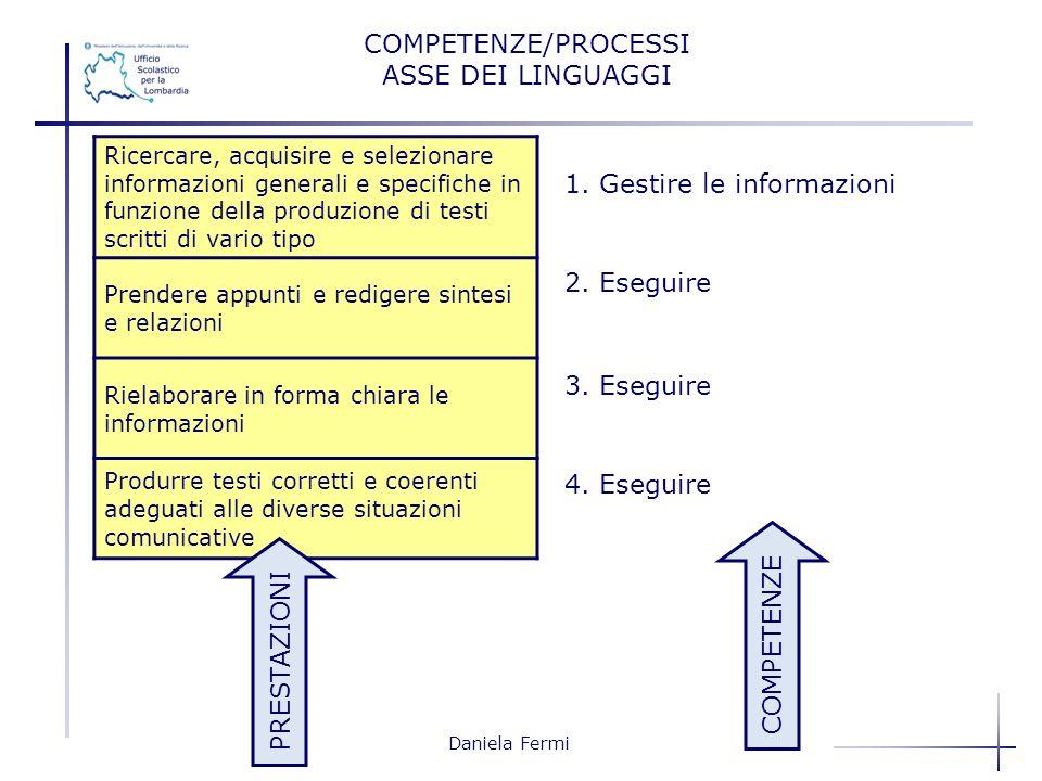 Daniela Fermi Ricercare, acquisire e selezionare informazioni generali e specifiche in funzione della produzione di testi scritti di vario tipo Prende