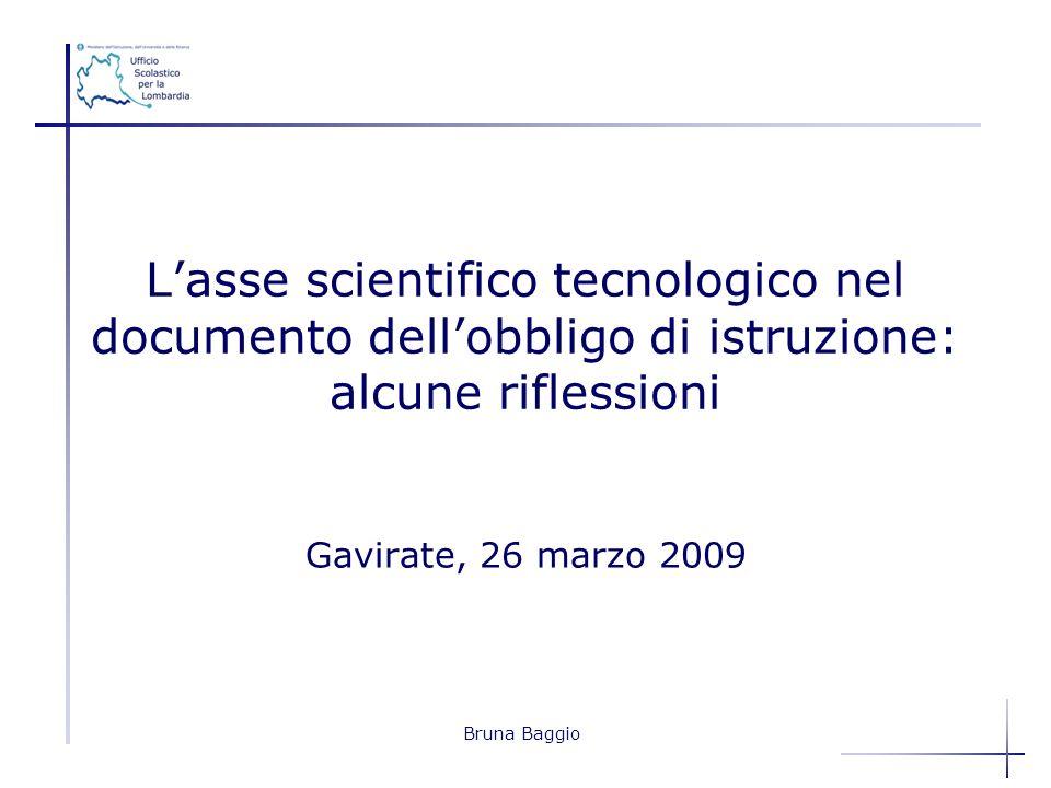 Bruna Baggio Gavirate, 26 marzo 2009 Lasse scientifico tecnologico nel documento dellobbligo di istruzione: alcune riflessioni
