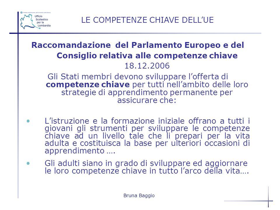 Bruna Baggio Raccomandazione del Parlamento Europeo e del Consiglio relativa alle competenze chiave 18.12.2006 Gli Stati membri devono sviluppare loff