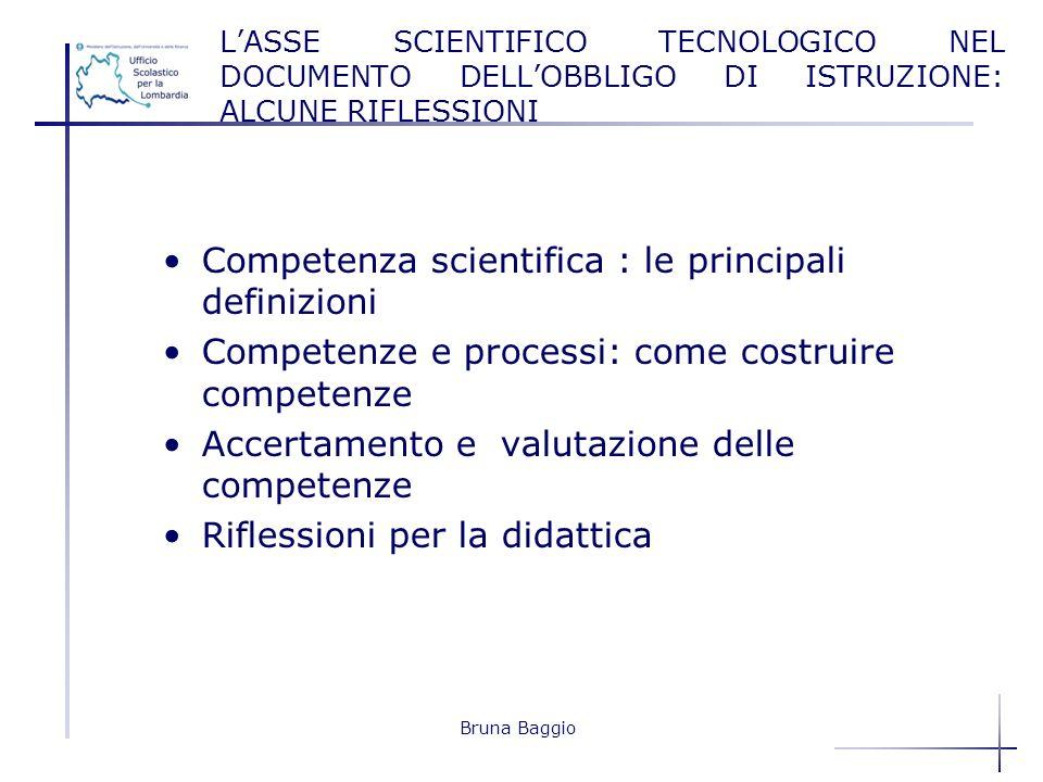 Bruna Baggio LASSE SCIENTIFICO TECNOLOGICO NEL DOCUMENTO DELLOBBLIGO DI ISTRUZIONE: ALCUNE RIFLESSIONI Competenza scientifica : le principali definizi