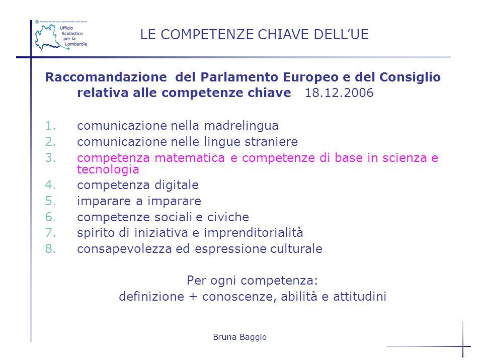 Bruna Baggio Raccomandazione del Parlamento Europeo e del Consiglio relativa alle competenze chiave 18.12.2006 1.comunicazione nella madrelingua 2.com