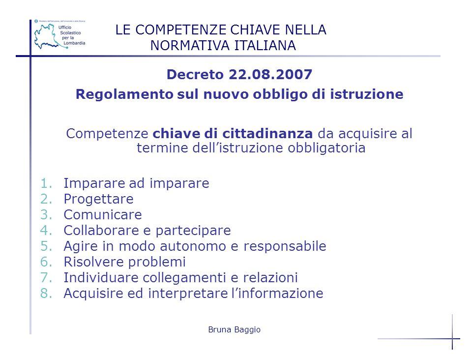 Bruna Baggio Decreto 22.08.2007 Regolamento sul nuovo obbligo di istruzione Competenze chiave di cittadinanza da acquisire al termine dellistruzione o