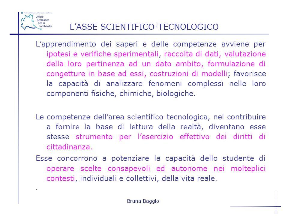 Bruna Baggio LASSE SCIENTIFICO-TECNOLOGICO Lapprendimento dei saperi e delle competenze avviene per ipotesi e verifiche sperimentali, raccolta di dati