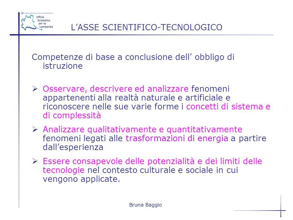 Bruna Baggio LASSE SCIENTIFICO-TECNOLOGICO Competenze di base a conclusione dell obbligo di istruzione Osservare, descrivere ed analizzare fenomeni ap