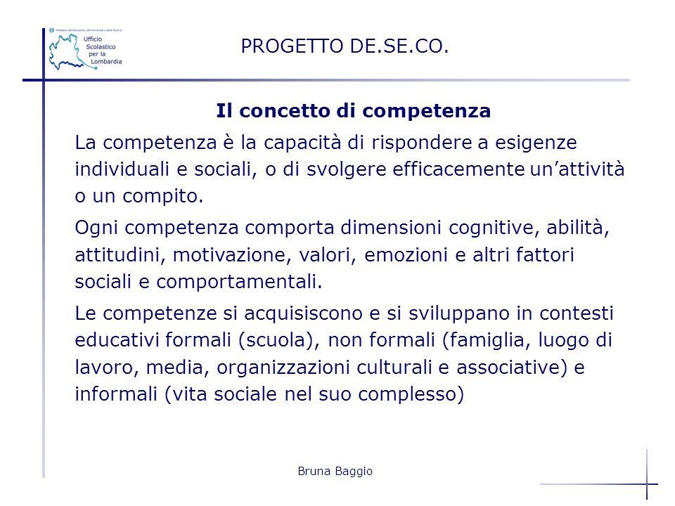 Bruna Baggio Il concetto di competenza La competenza è la capacità di rispondere a esigenze individuali e sociali, o di svolgere efficacemente unattiv