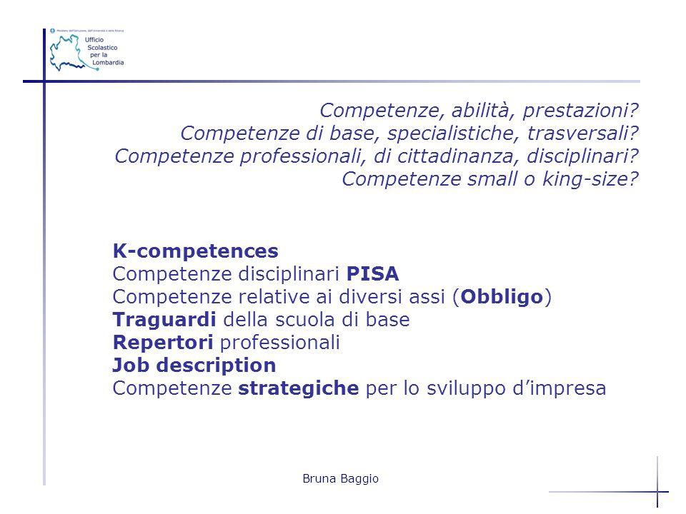 Bruna Baggio Competenze, abilità, prestazioni? Competenze di base, specialistiche, trasversali? Competenze professionali, di cittadinanza, disciplinar
