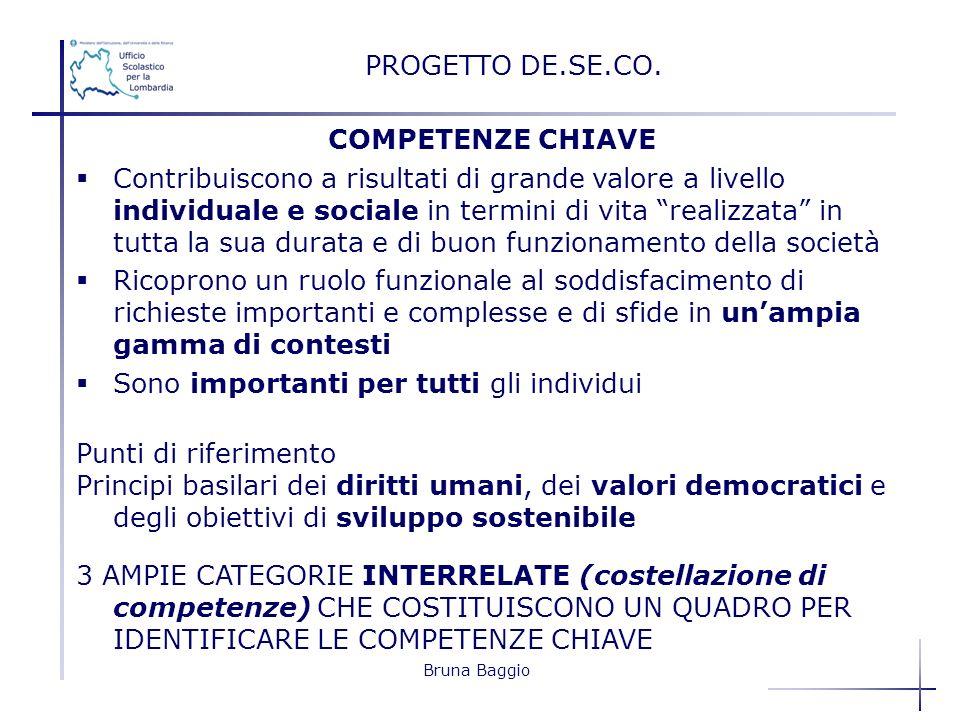 Bruna Baggio PROGETTO DE.SE.CO. COMPETENZE CHIAVE Contribuiscono a risultati di grande valore a livello individuale e sociale in termini di vita reali