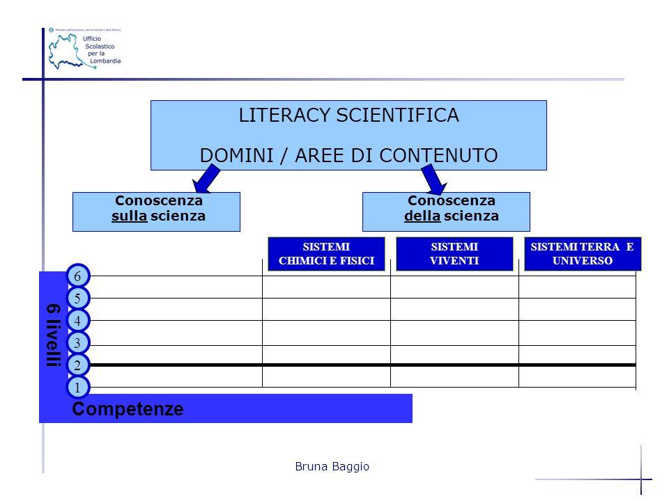 Bruna Baggio LITERACY SCIENTIFICA DOMINI / AREE DI CONTENUTO 6 livelli Competenze 2 4 3 5 1 6 Conoscenza sulla scienza Conoscenza della scienza SISTEM