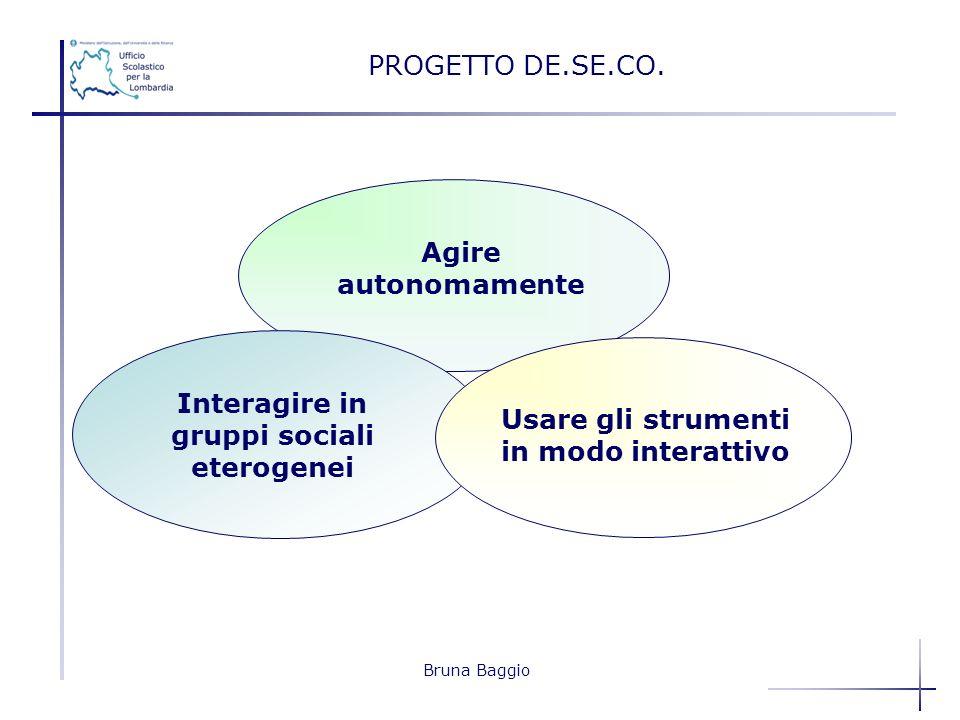 Bruna Baggio PROGETTO DE.SE.CO. Agire autonomamente Interagire in gruppi sociali eterogenei Usare gli strumenti in modo interattivo