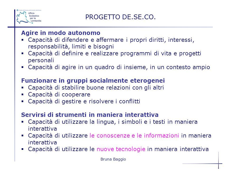 Bruna Baggio PROGETTO DE.SE.CO. Agire in modo autonomo Capacità di difendere e affermare i propri diritti, interessi, responsabilità, limiti e bisogni
